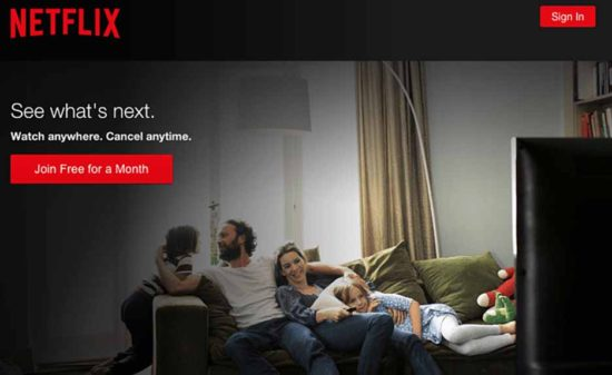 Netflix call-to-action message example