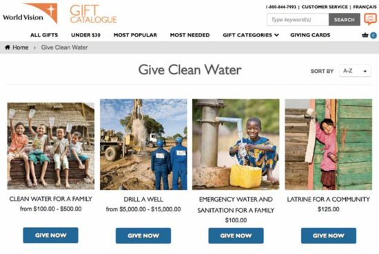 World Vision call-to-action message example